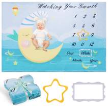 """Whaline Baby Monthly Milestone Blanket with 2 Frames Watching Your Growth Photo Prop Photography Backdrop Soft Moon Baby Growth Photo Blanket for Newborn Boy or Girl Shower Gift (60""""x40"""")"""