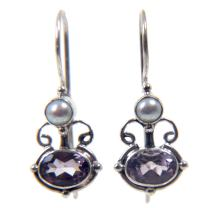 NOVICA Amethyst and Cultured Freshwater Pearl Earrings with Sterling Silver, Sunrise Spirit'