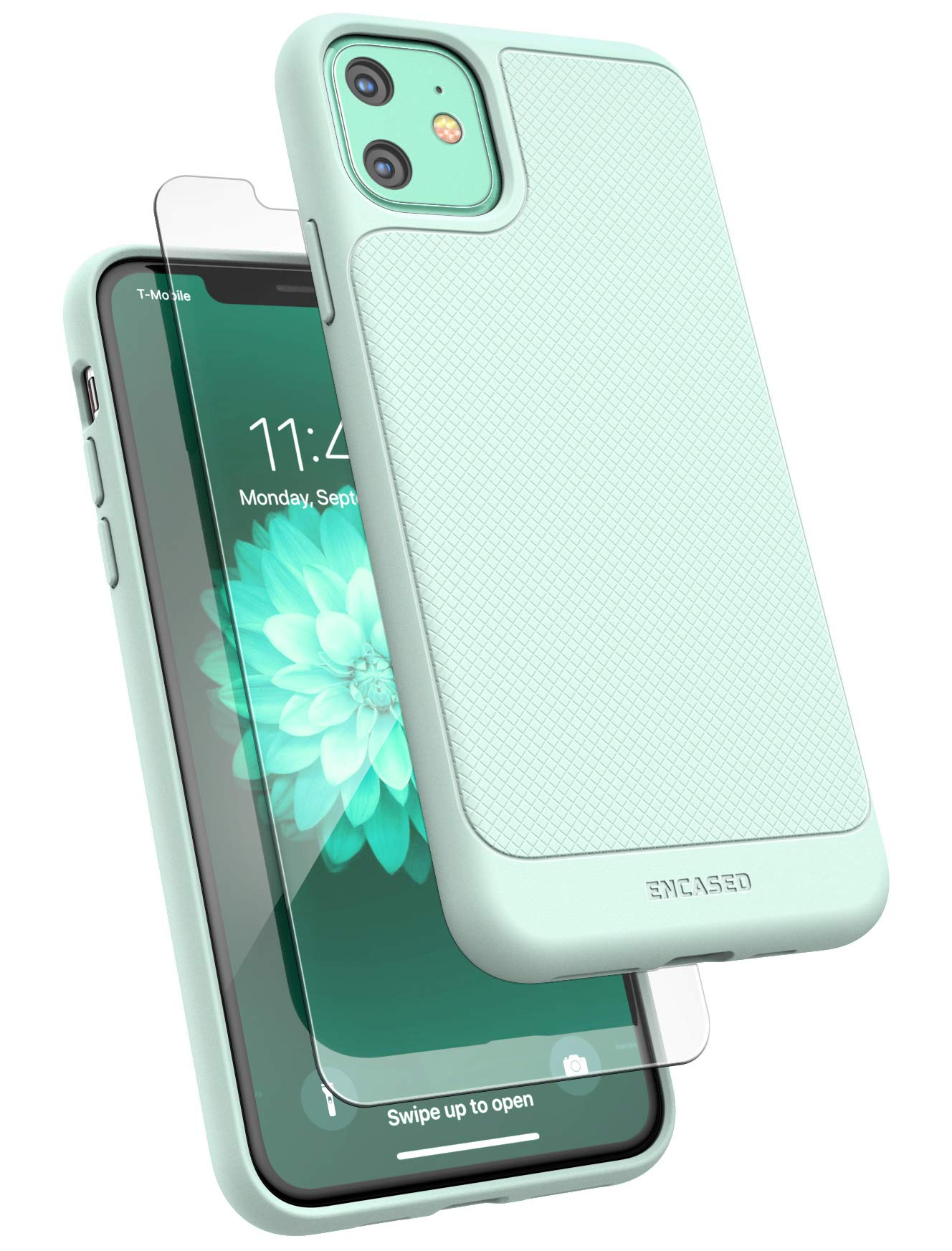 Encased iPhone 11 Case Green (Thin Armor) Slim Flexible Grip Phone Cover with Screen Protector (Mint Green)