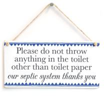 "Meijiafei Please do not Throw Anything in The Toilet Other Than Toilet Paper - Blue Border Septic Tank Notice Door Sign for Bathroom Door Sign 10""x5"""