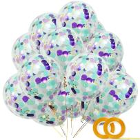 """Mermaid Confetti Balloons 20pcs, White Dark Purple Light Purple Aqua Blue Gold Confetti Balloon 12"""" Clear Latex Balloons for Baby Shower Under the Sea Mermaid Birthday Party Decorations with Ribbon"""
