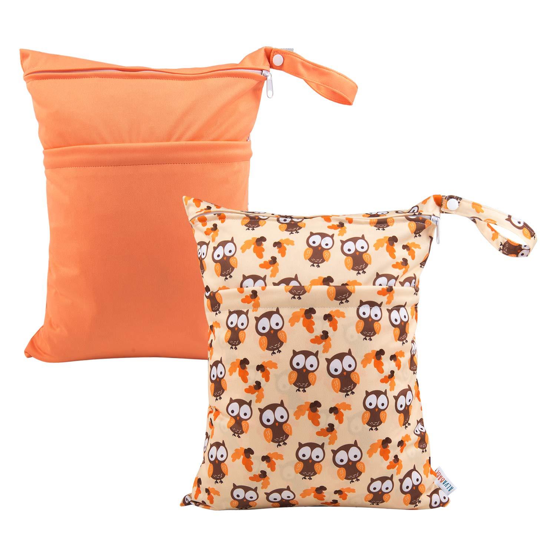 ALVABABY 2pcs Cloth Diaper Wet Dry Bags Reusable Travel Bag Mommy Bag L-B17YX27