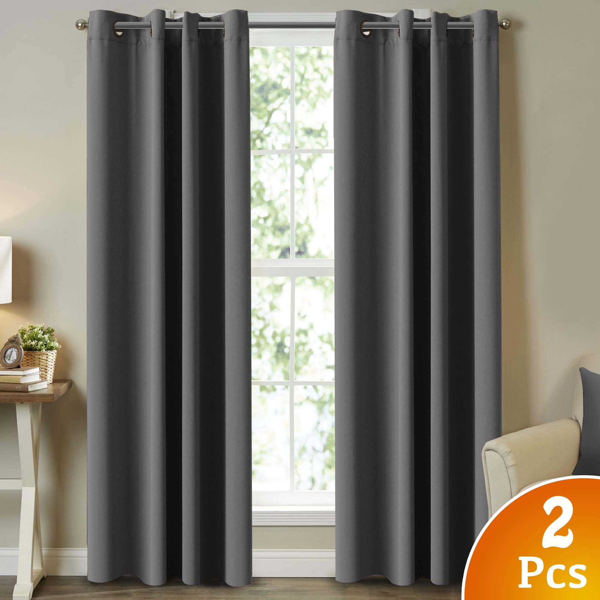 Turquoize Thermal Insulated Blackout Curtains Room Darkening Thermal Insulated Noise Reducing Blackout Window Curtains for Living Room/Infant Room - 96 Inch Long, Set of 2, Charcoal Gray