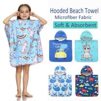 SpunKo Soft Microfiber Hooded Beach Towels for Kids 6-12 Years Old Unicorn Sand-Free Absorbent Swimsuit Coverup Bathrobe Gift for Girls Boys