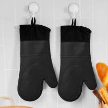 ALOANES Premium Silicone Slip Resistant Oven Mitt Set, Soft Flexible Oven Gloves. Heat Resistant Kitchen Cooking Mitts, Protect Hands from Hot Surfaces, Cookie Sheets, Black Pair, Set of 2