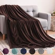 "LIANLAM Fleece Blanket Lightweight Super Soft and Warm Fuzzy Plush Cozy Luxury Bed Blankets Microfiber (Coffee, Twin(65""x90""))"