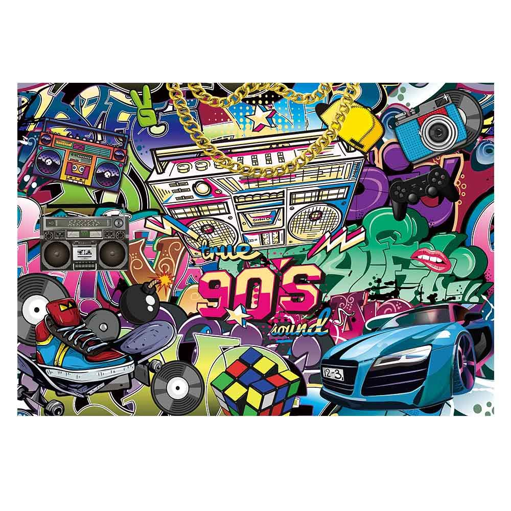Funnytree 7x5ft Hip Pop 90's Themed Party Backdrop Graffiti Back to 90s Photography Background Rock Punk Music Dance Disco Retro Adult Birthday Banner Cake Table Decoration Photo Booth Props