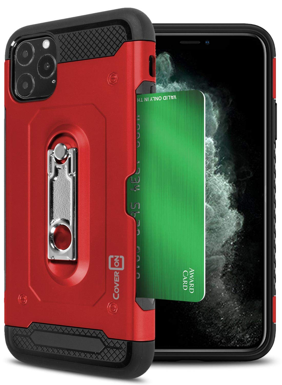 CoverON Kickstand Credit Card Holder Slot Zipp Series for iPhone 11 Pro Case, Red