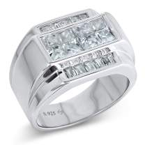 Men's Sterling Silver .925 Ring with White Invisible and Channel Set Cubic Zirconia (CZ) Stones, Platinum Plated. Flashy Eye Catching Ring. Elegant Sterling Silver Jewelry Encrusted with CZs For Men.