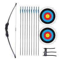 "Procener 45"" Bow and Arrow Set for Kids Archery Beginner Gift Recurve Bow Kit with 9 Arrows 2 Target Face 18 Lb for Teen Outdoor Sports Game Hunting Toy"