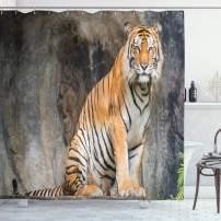 "Ambesonne Zoo Shower Curtain, Bengal Tiger Feline Predator Aggressive Hunter Carnivore Africa Safari, Cloth Fabric Bathroom Decor Set with Hooks, 75"" Long, Light Brown"