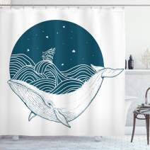 "Ambesonne Whale Shower Curtain, Big Whale Swimming in a Wavy Ocean with Stars and Old Antique Ship Artwork Print, Cloth Fabric Bathroom Decor Set with Hooks, 84"" Long Extra, White Teal"