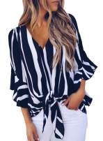 Asvivid Womens Striped Printed Off The Shoulder Tops 3 4 Flared Bell Sleeve Blouses Summer Tie Knot T-Shirt