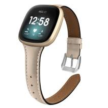 poshei Slim Leather Bands for Fitbit Versa 3 / Fitbit Sense,Top Grain Genuine Thin Leather Replacement Wristband Compatible with Fitbit Sense/Fitbit Versa 3 for Women Men (Beige)