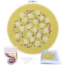Full Range of Embroidery Starter Kit with Pattern, Kissbuty Cross Stitch Kit Including Stamped Embroidery Cloth with Pattern, Bamboo Embroidery Hoop, Color Threads and Tools Kit (Daisy Flowers)