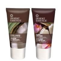 Desert Essence Coconut Shampoo & Conditioner Travel Size Bundle - 1.5 Fl Ounce - Nourishing For Dry Hair - Moisturizing - Softening - Hydrating - Anti-Frizz - Shea Butter