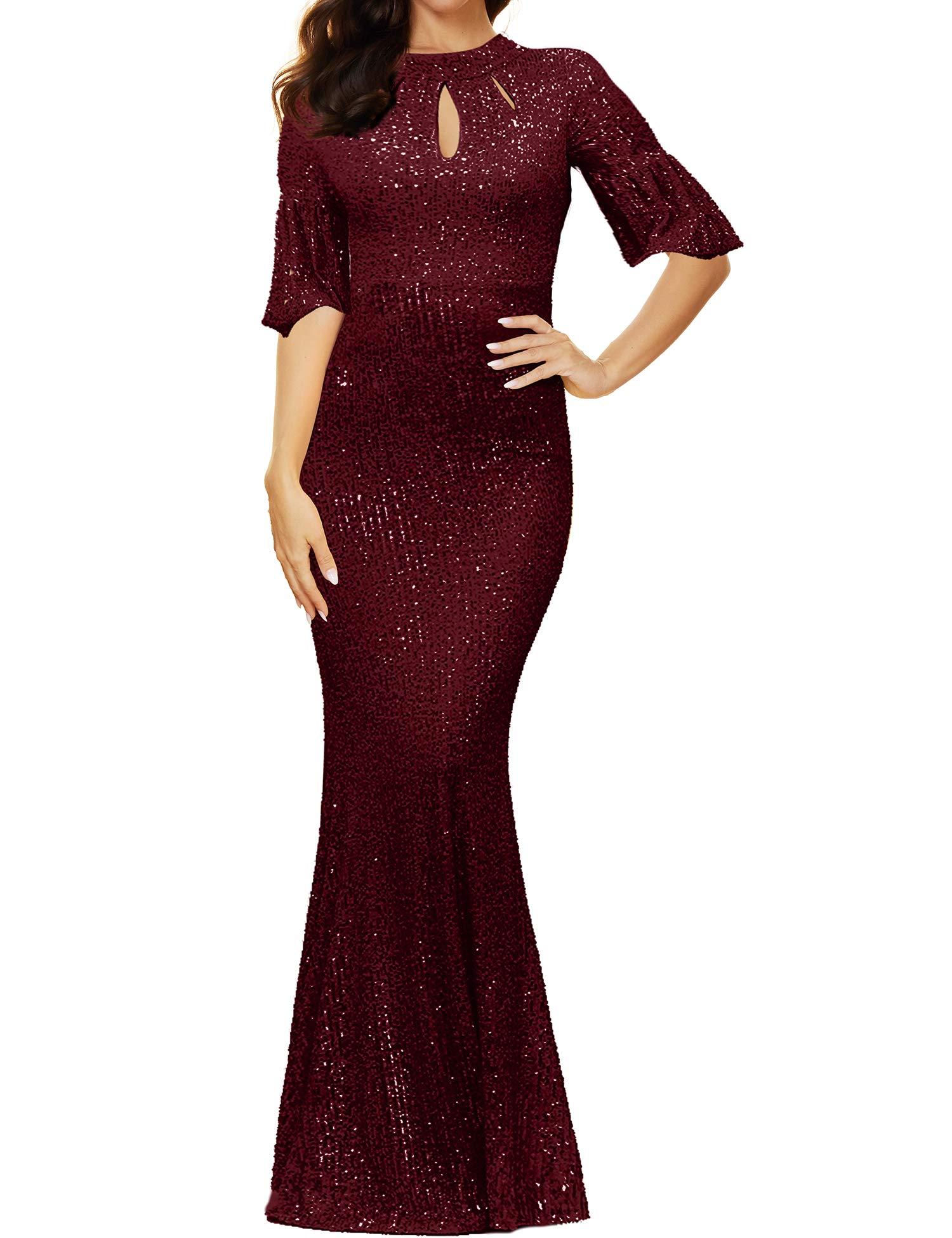 Women's Half Sleeve High Neck Sequin Long Evening Dress Party Maxi Dress