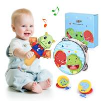 Joyjoz Baby Rattle and Wooden Tambourine, Castanets Kids Musical Instruments, Cute Stuffed Animal Early Educational Musical Toys, Toddler Musical Kit for Boys Girls Gifts