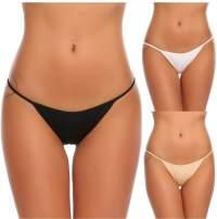 Ekouaer Underwear Women's 3 Pack Low-Rise String Bikinis Panty Stretch Brief Cotton Spandex Thongs Underwear G-Strings