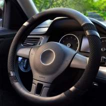 BOKIN Steering Wheel Cover Black Microfiber Leather and Viscose, Breathable, Anti-Slip, Odorless, Warm in Winter and Cool in Summer, Universal 15 Inches