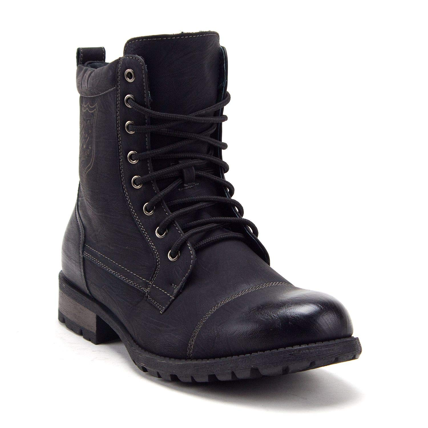 Jazamé Men's 661 Tall Military Fashion Cap Toe Lace Up Combat Motorcycle Boots