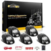 Partsam 5X Smoke Cab Marker Roof Running Light White 12 LED Lights w/Wire Harness Compatible with Dodge Ram 1500 2500 3500 4500 5500 2003-2018 Pickup Trucks