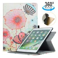 iPad 9.7 2018/2017 Case,AiSMei 360 Degree Rotating Stand Case with Soft TPU Back Cover,Pencil Holder,Auto Wake/Sleep Function for iPad 6th/5th Generation,Also fits iPad air -Dandelion
