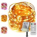 ER CHEN Solar String Lights with Backup Battery, 200 LED Solar Fairy Lights with Remote, 66 ft 8 Modes Color Changing Waterproof Outdoor String Lights for Garden, Patio, Yard (Warm White&Multicolor)