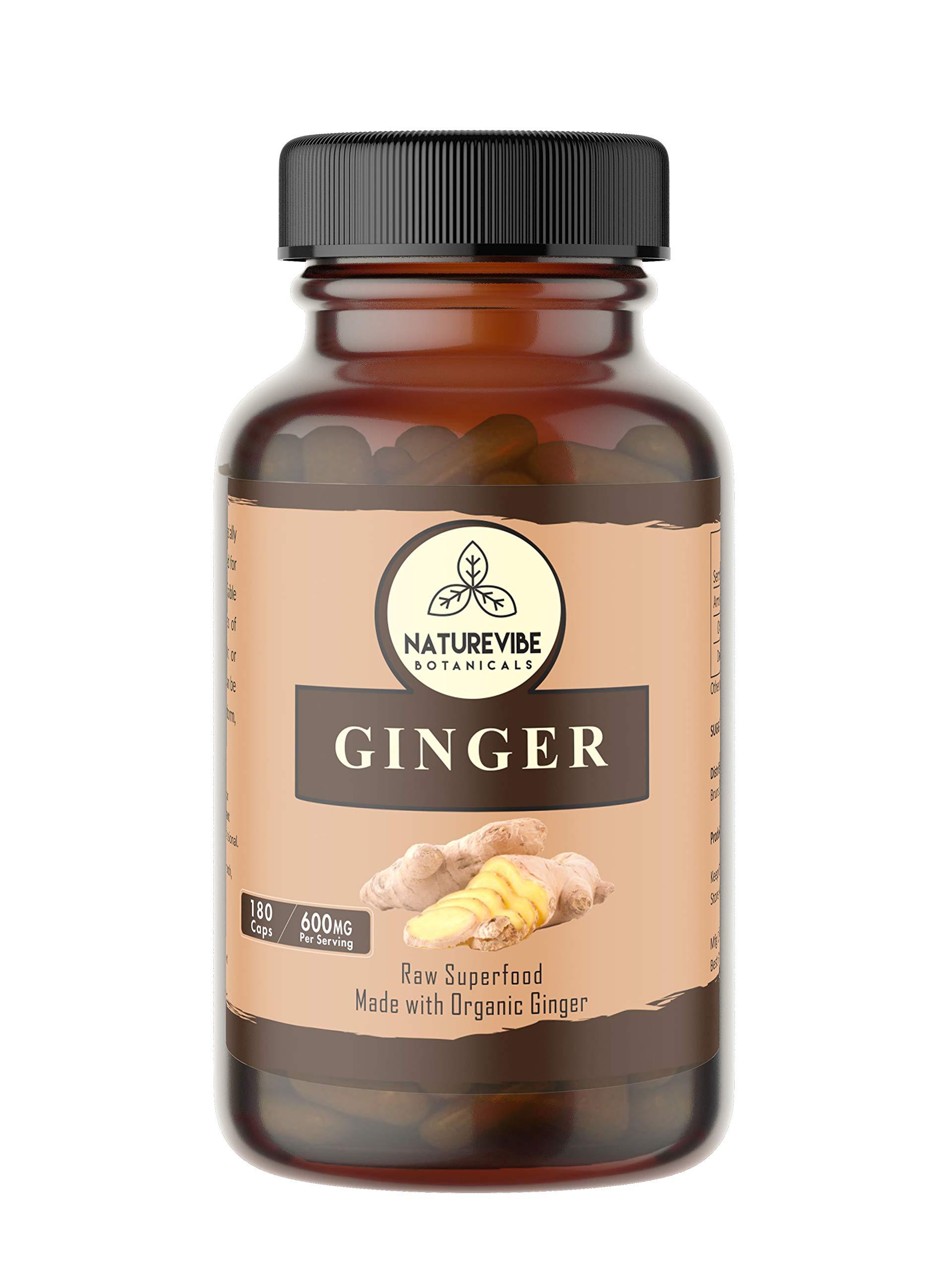 Naturevibe Botanicals 180 Ginger Root Capsules,100% Organic Ginger Root Powder, 600mg Per Serving | Veg Capsules | Gluten Free