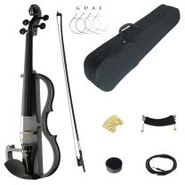 Kinglos 4/4 Black Grid Colored Solid Wood Advanced Electric/Silent Violin Kit with Ebony Fittings Full Size (DSG1311)