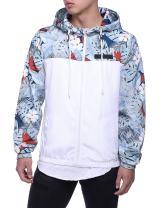 HEQU Men's Floral Hooded Windbreaker Lightweight Zip-Up Jacket with Pocket