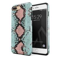 BURGA Phone Case Compatible with iPhone 7 Plus / 8 Plus - Mint Green Blue Pink Snake Skin Pattern Serpent Savage Wild Heavy Duty Shockproof Dual Layer Hard Shell + Silicone Protective Cover