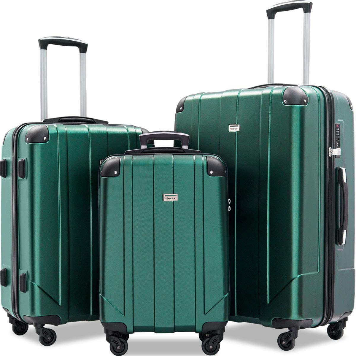 Merax 3 Pcs Luggage Set with Built-in TSA and Reinforced Corners, Eco-friendly P.E.T Light Weight Spinner Suitcase Set (Blackish Green)