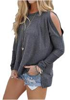 SimpleFun Women's Cutout Cold Shoulder Long Sleeve T-Shirt Tunic Tops Loose Casual Side Split Blouse