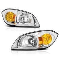 VIPMOTOZ Chrome Housing OE-Style Headlight Headlamp Assembly For 2005-2010 Chevy Cobalt & Pontiac G5, Driver & Passenger Side