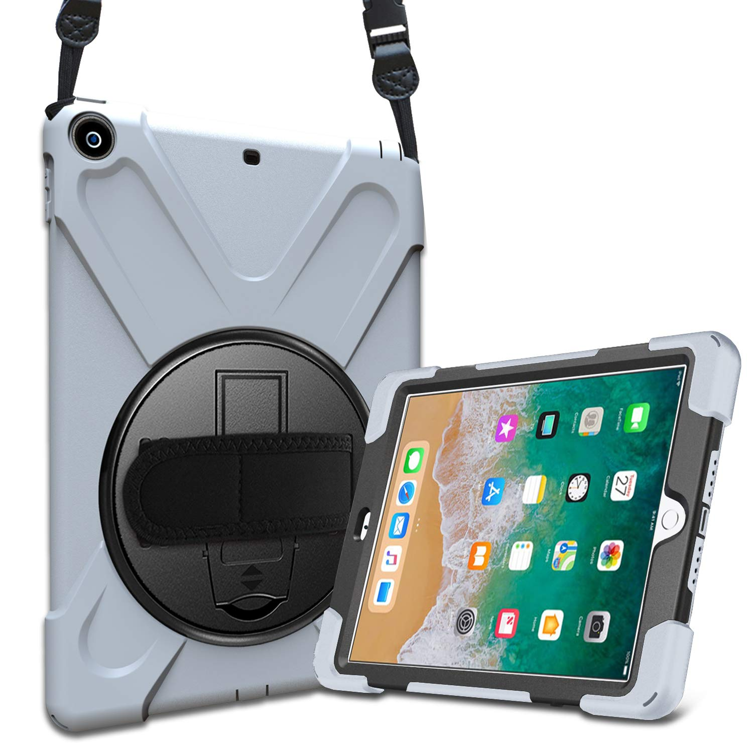 ProCase iPad 9.7 Case 2018/2017, Rugged Heavy Duty Shockproof 360 Degree Rotatable Kickstand Protective Cover Case for Apple iPad 6th 5th Gen 9.7 Inch -Grey