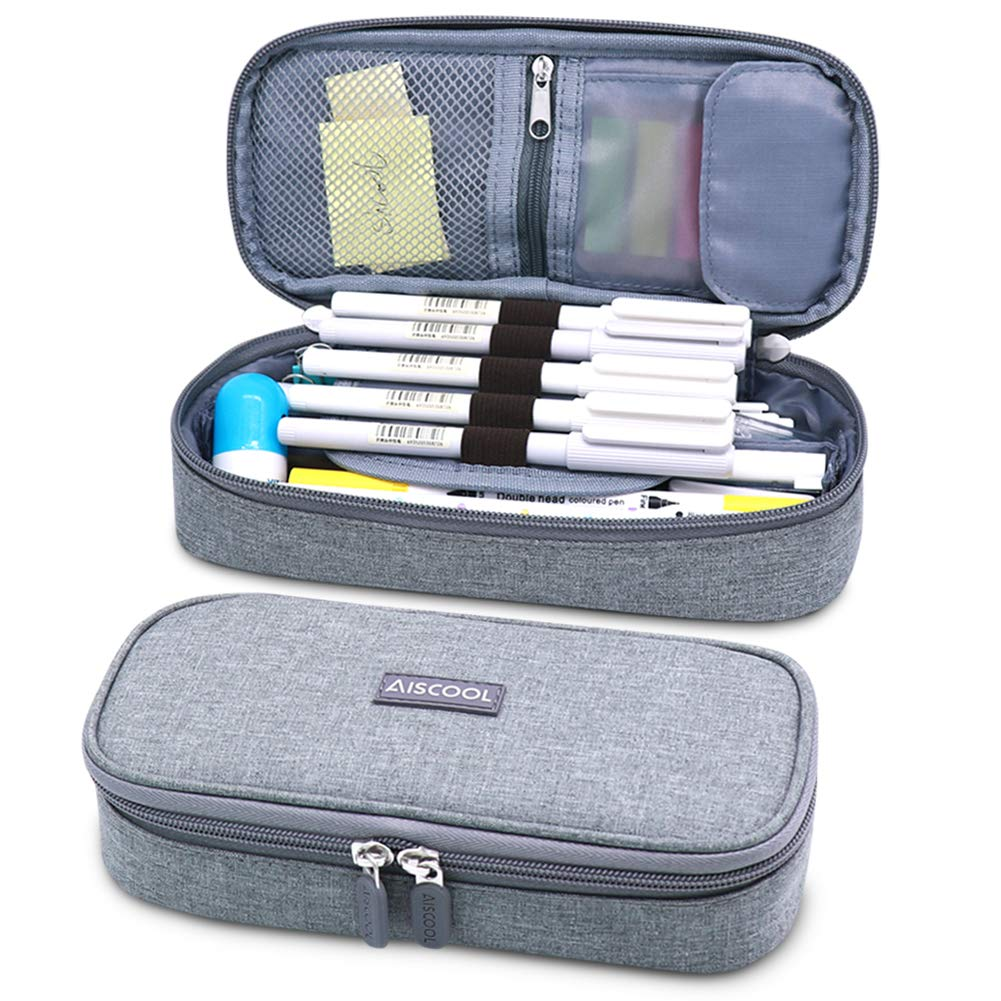 Aiscool Big Capacity Pencil Case Holder Bag Pen Organizer Pouch Stationery Box for School Supplies Office Stuff (Gray) - 8.5x4x2.4 inchs