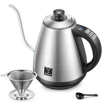 Electric Gooseneck Kettle with Variable Temperature Control Pour Over Coffee Kettle and Tea Kettle, 1000W Quick Boiling Water Kettle Full Stainless Steel Inner Heater, 1.0L, Brushed Silver