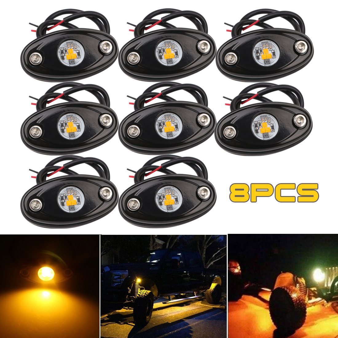 LEDMIRCY LED Rock Lights Yellow Kit 8PCS for JEEP Off Road Truck Car Boat ATV SUV Waterproof High Power Underbody Neon Trail Lights Underglow Lights Interior Exterior Shockproof(8PCS-Yellow)