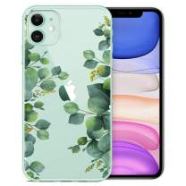 RicHyun iPhone 11 Case, Clear iPhone 11 Case, Eucalyptus Green Leaves Pattern Plastic Hard Back Case with Soft TPU Bumper Protective Case Cover for Women Girls