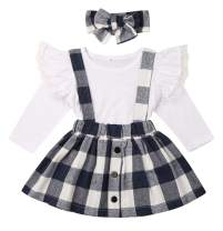 Baby Girl 2pcs Outfits Floral Long/Short Sleeve Ruffled T-Shirt Top+Suspender Braces Skirt Overalls
