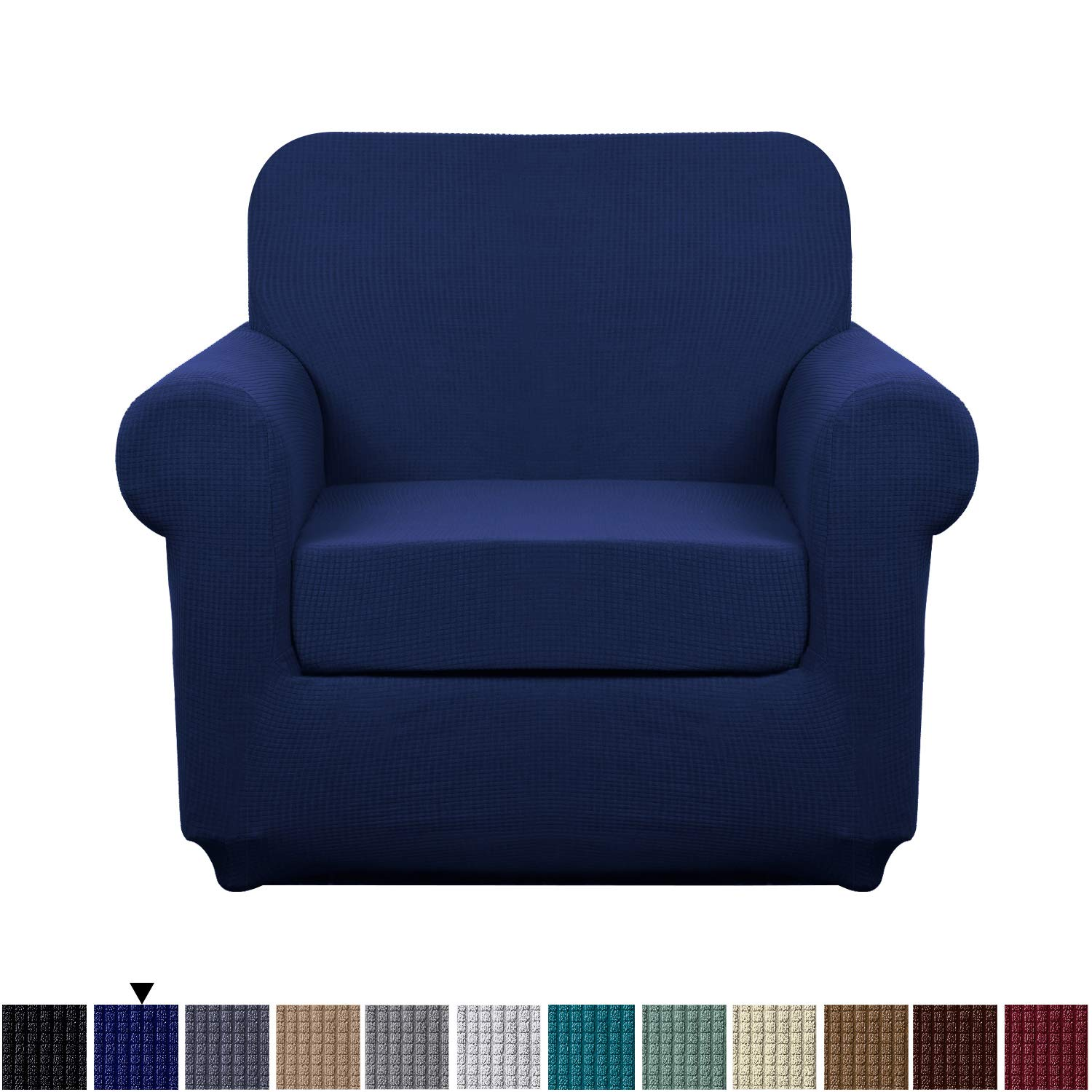 Granbest Stretch Sofa Slipcovers 3 Cushion Couch Covers Water-Repellent Pet Furniture Covers Dog Couch Protectors (Navy Blue, Small-2 Pieces)