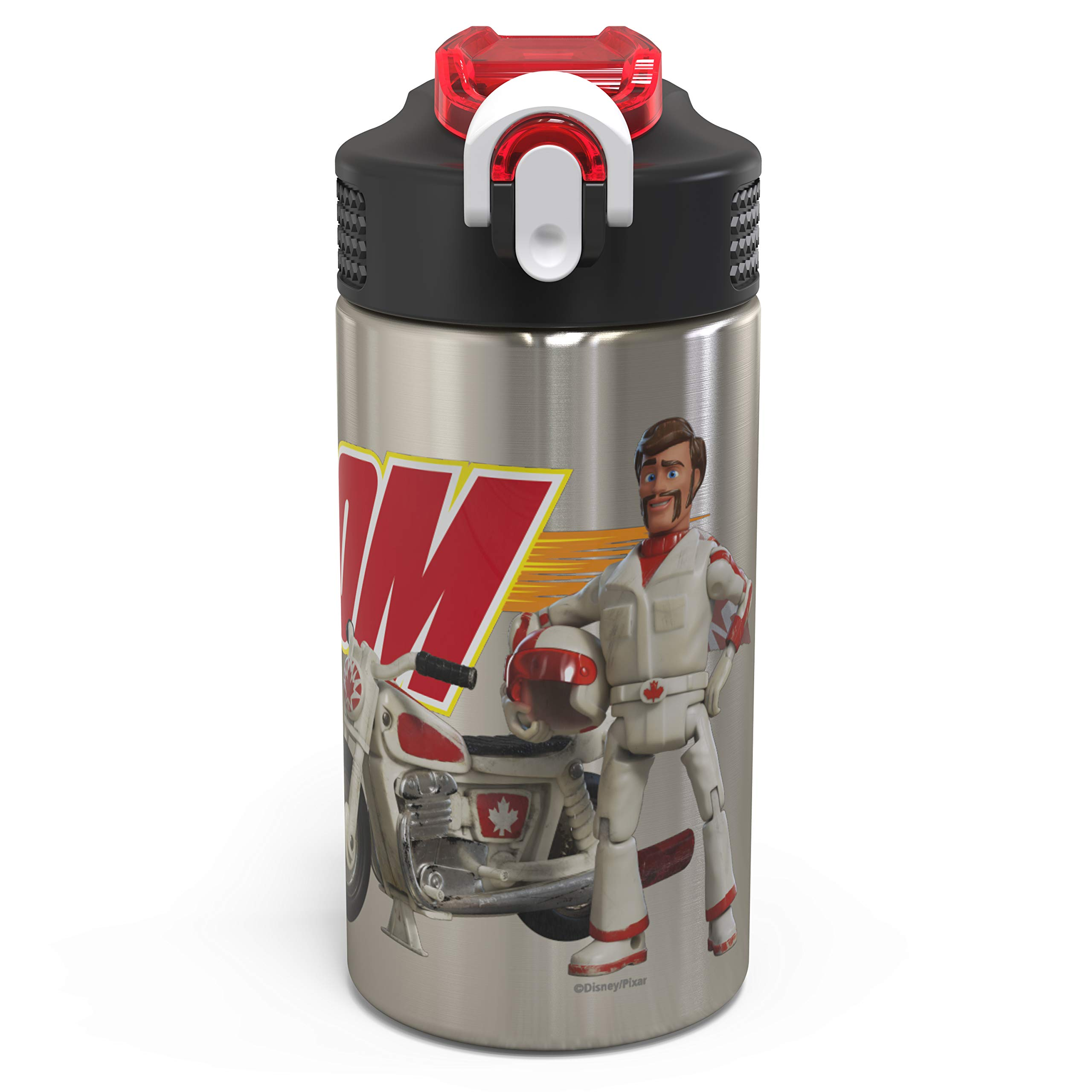 Zak Designs Toy Story 4 Duke Caboom Stainless Steel BPA Free Water Bottle 15.5 oz with One Hand Operation Action Lid and Built-in Carrying Loop, Water Bottle with Straw is Perfect for Kids