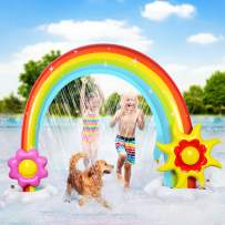 Funyole Inflatable Rainbow Sprinkler for Kids, Kids Summer Outdoor Lawn Toy, Fun Water Play Sprinkler for Toddlers, Huge Colorful Back Yard Toddler Summer Toys, Easy to Set Up, Great Party Prop