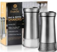 Salt and Pepper Shakers - Spice Dispenser with Adjustable Pour Holes - Stainless Steel & Glass -Set of 2 Bottles By Smart House Inc
