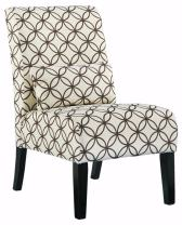 Ashley Furniture Signature Design - Annora Accent Chair - Curved back - Vintage Casual - White with Brown Pattern