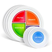 """Health Beet Portion Control Plate - Choose MyPlate for Teens and Adults, Nutrition Plates and Dairy Bowls with Food Sections, 10"""" - Spanish Language (4 Plates, 4 Bowls)"""