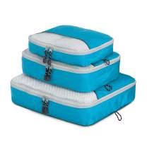 Globite 3 Piece Packing Cubes Travel Set - Durable Luggage Organizer Bundle (S, M, L), Blue