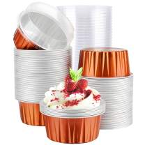 Dessert Cups With Lids, Eusoar 5 oz 100pcs Baking Cups with Lids,125ml Snacks Desserts Flan, Recyclable Economical Catering Gathering Club Shower Wedding Party Favor Baking Cups-Caramel
