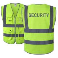JKSafety 9 Pockets Class 2 High Visibility Zipper Front Safety Vest With Reflective Strips,HQ Breathable Mesh, Meets ANSI/ISEA Standards (Security-Yellow, Medium)